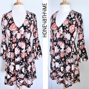 HONEY&THYME floral print mini dress bell sleeves S